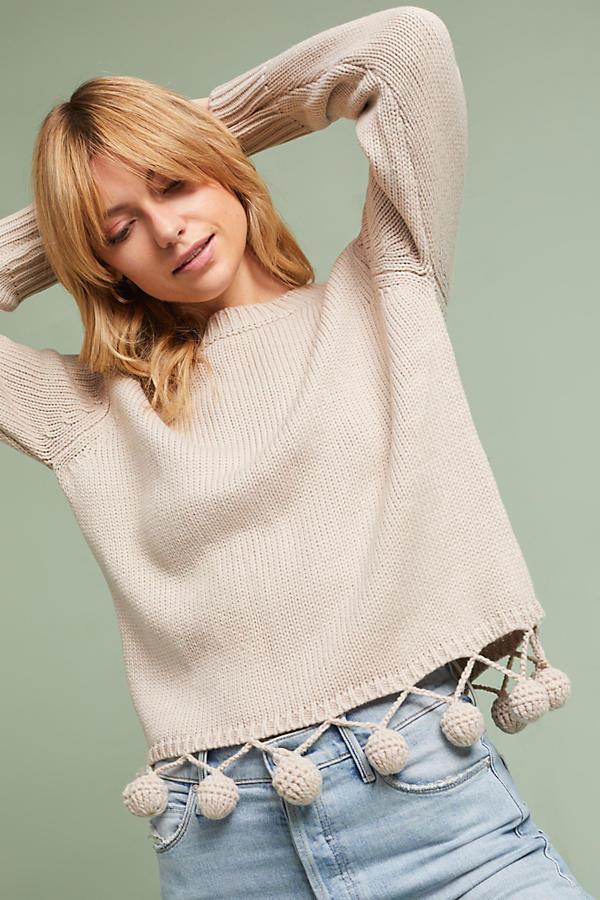 Pom-Hemmed Pullover
