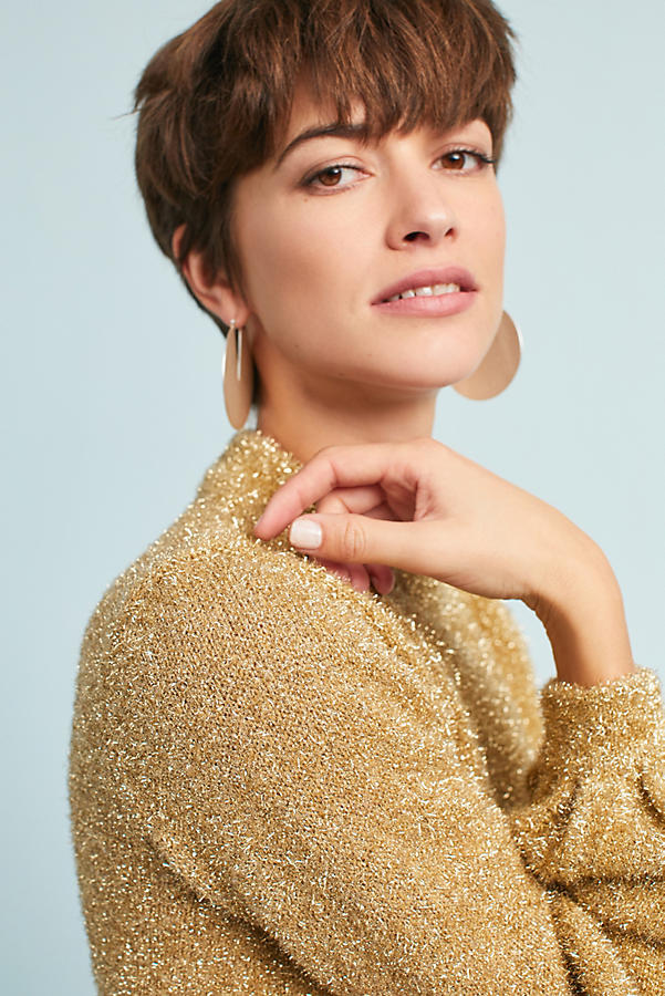 Sparkle Balloon-Sleeve Sweater