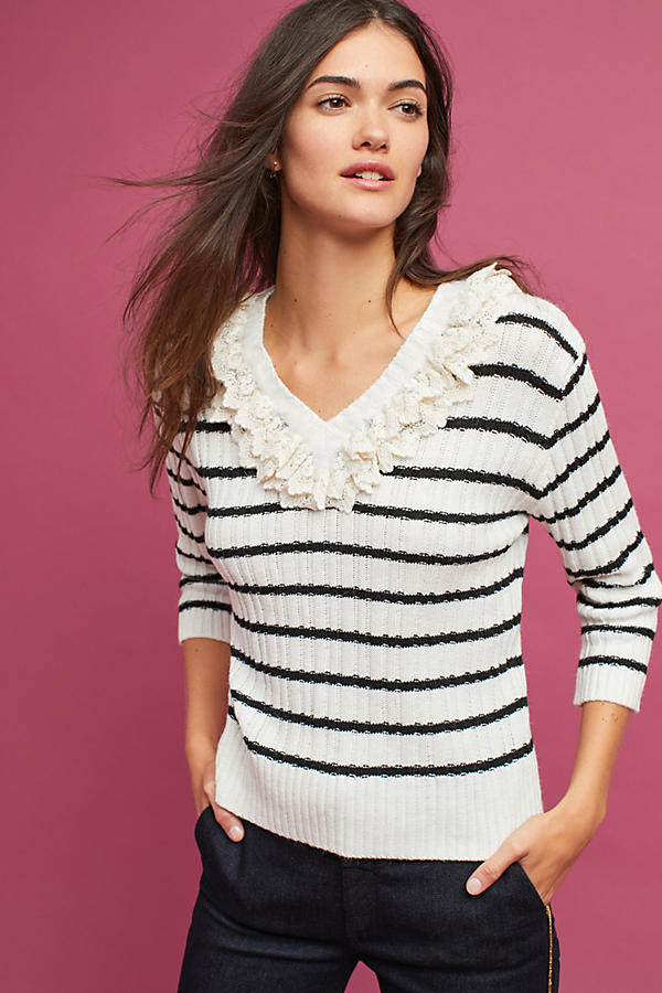 Lace-Trimmed Striped Pullover