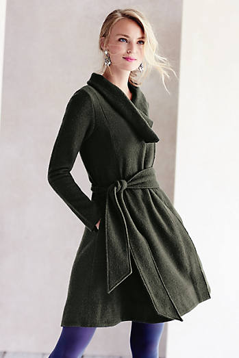 Shawled Wool Sweater Coat