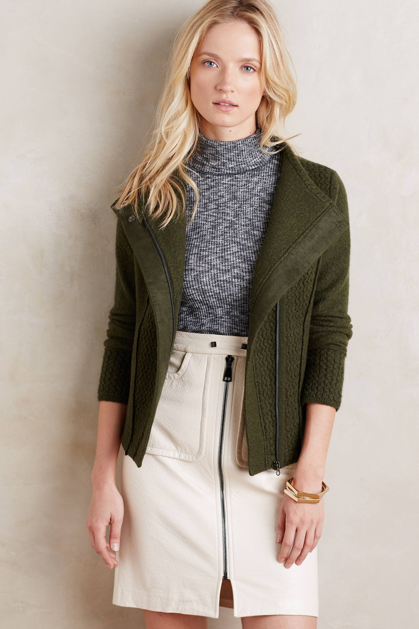 Textured Wool Moto Jacket