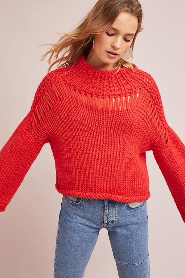 Hand-Knit Bell-Sleeve Pullover