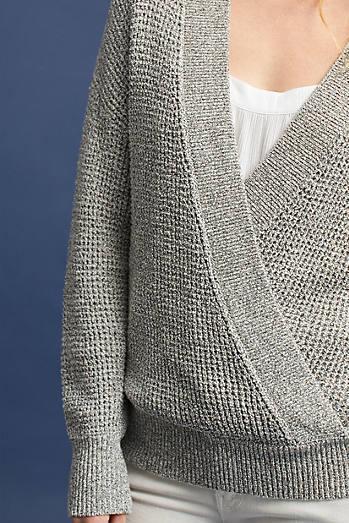 Wrap-Front V-Neck Pullover