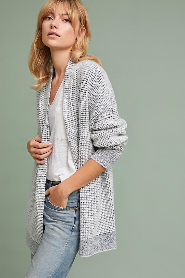Textured Drop-Sleeve Cardigan
