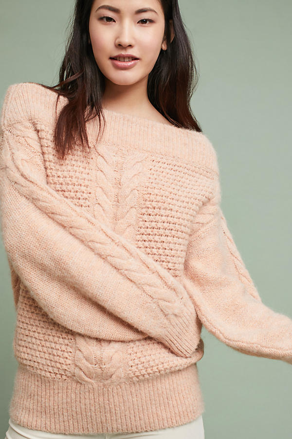 Off-The-Shoulder Cableknit Sweater