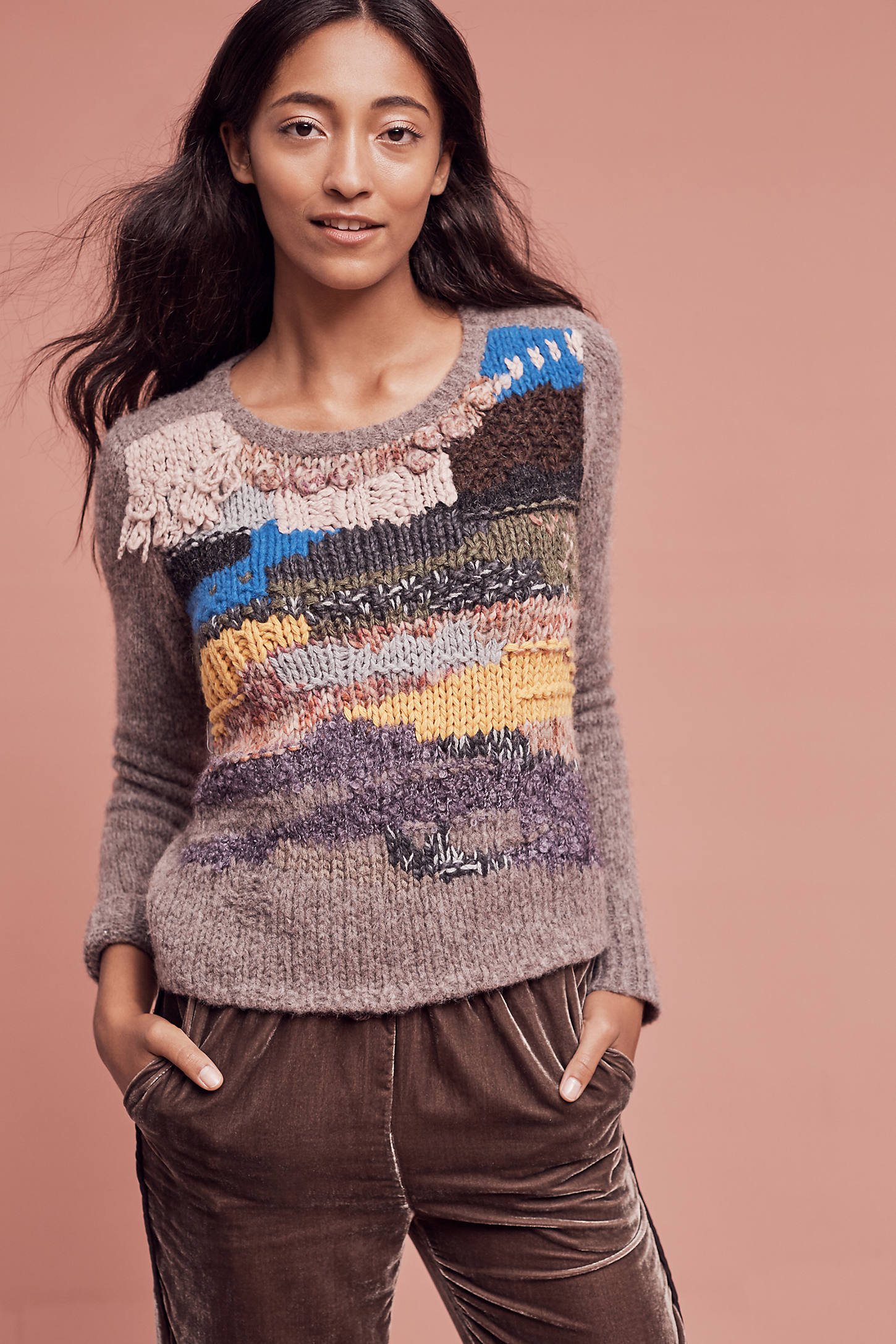 Fringed Collage Pullover