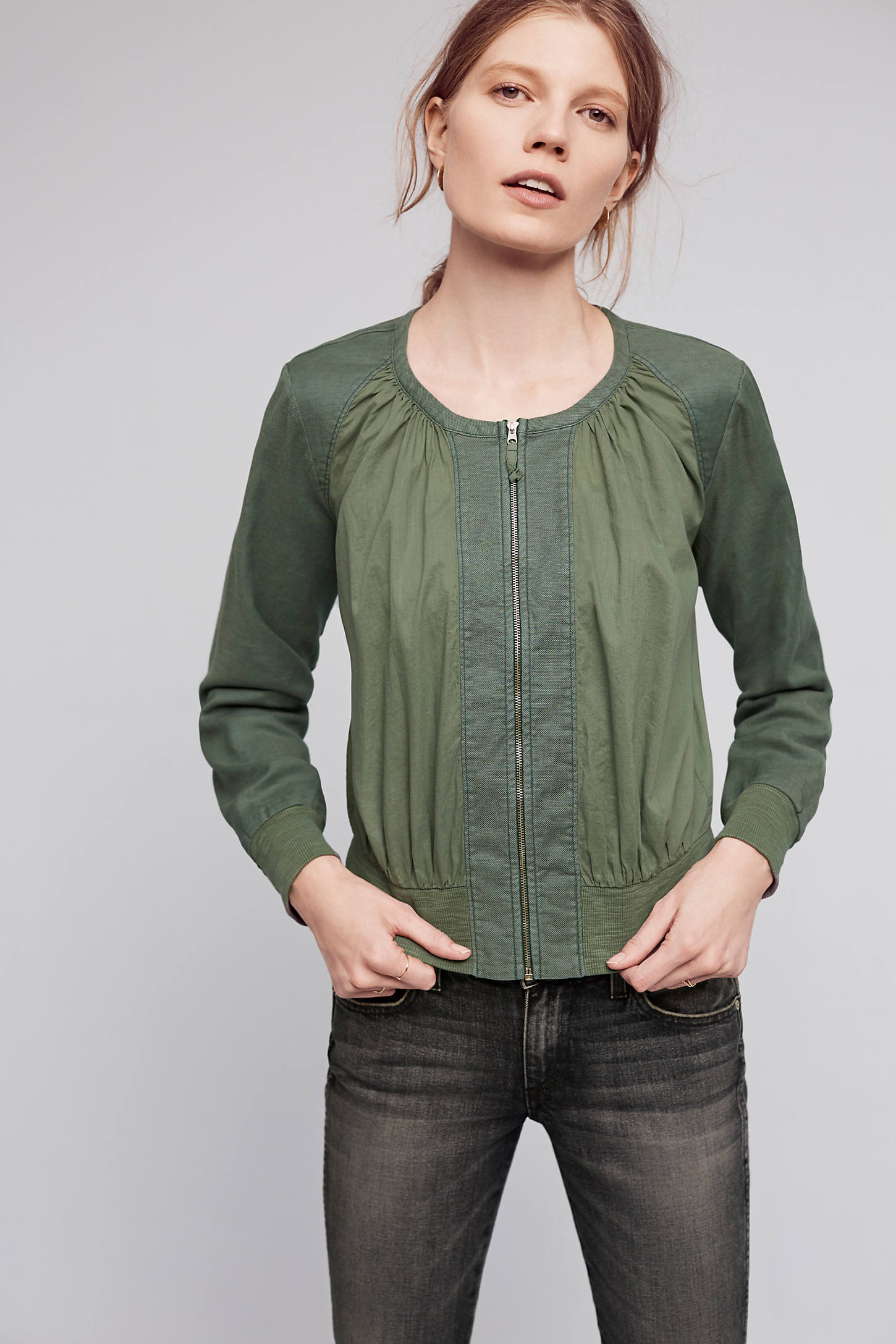 Hilltop Ruched Bomber Jacket, Green
