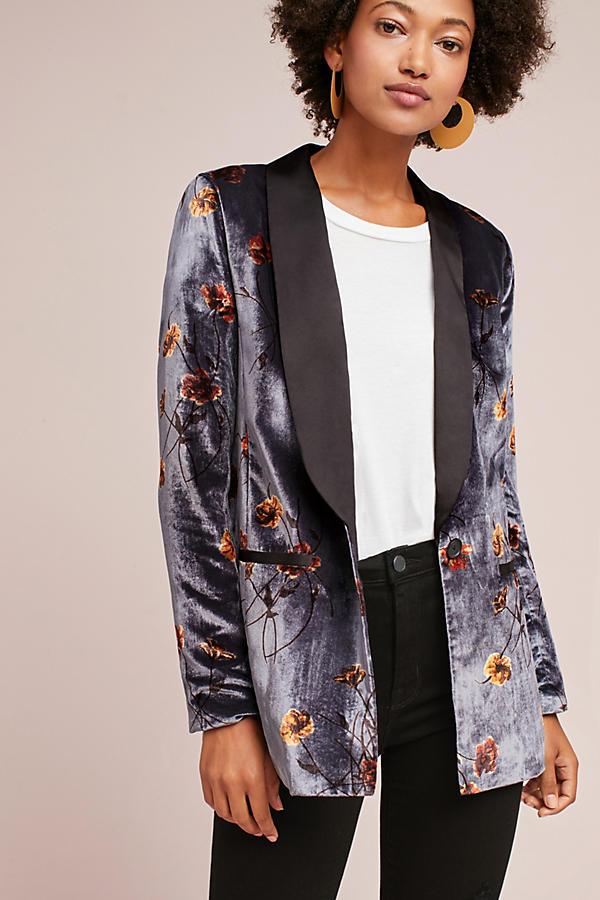 Printed Velvet Tuxedo Blazer
