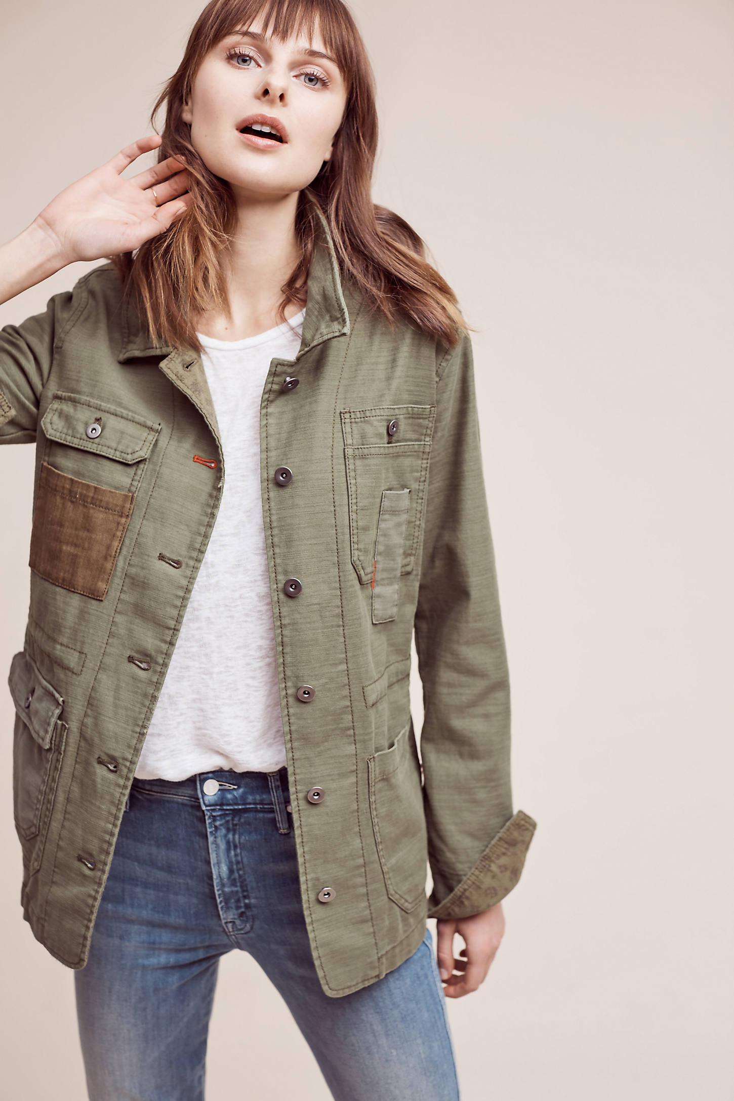 Patched Utility Jacket, Green