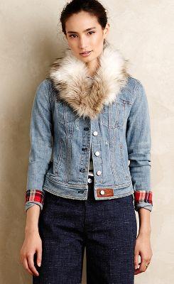 Pilcro Faux-Fur Denim Jacket