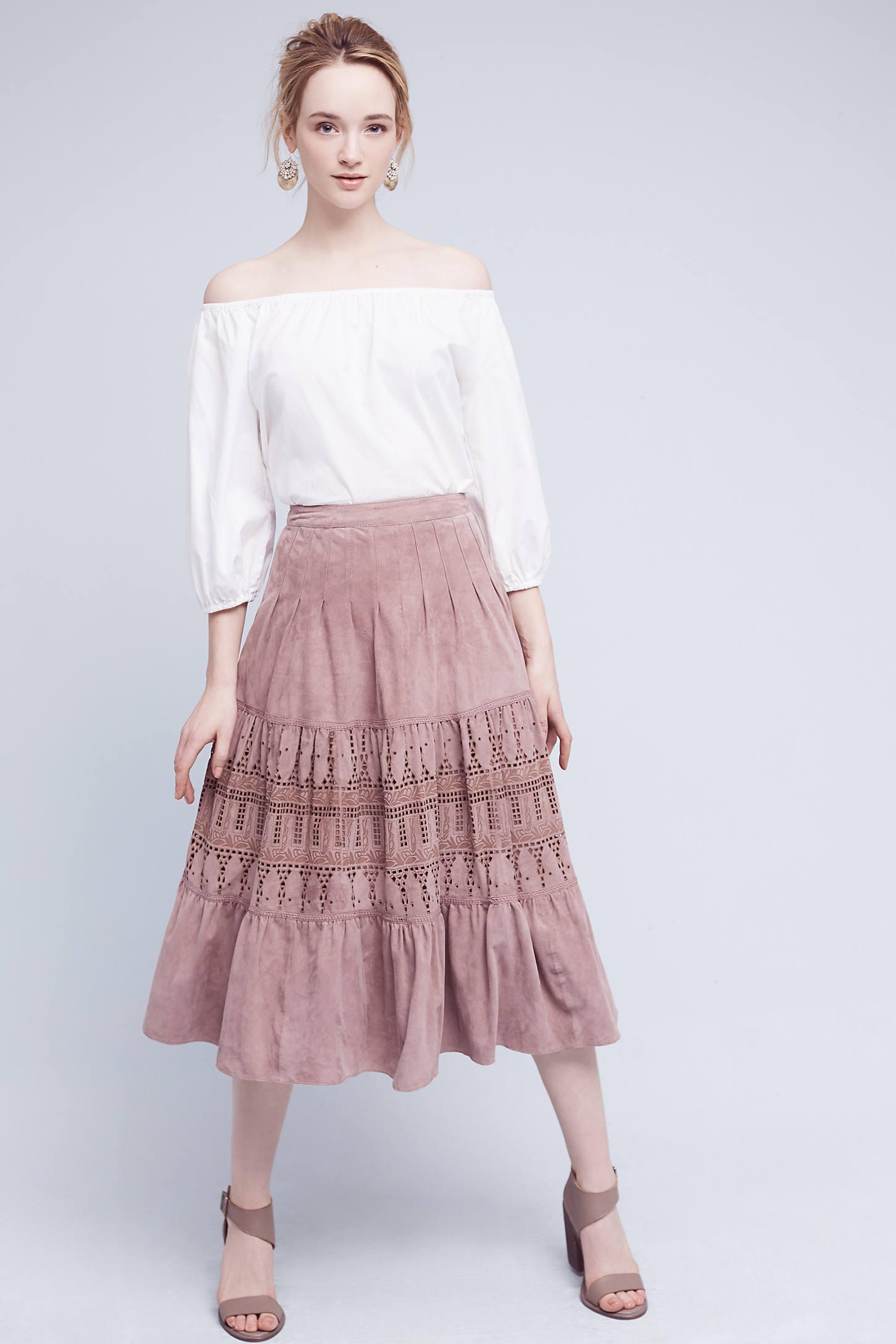 Aldane Suede Midi Skirt, Pink