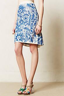 Embroidered Bleuet Pencil Skirt