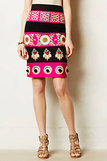 Embroidered Catrina Pencil Skirt
