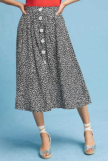 Tracy Reese Cheetah Midi Skirt