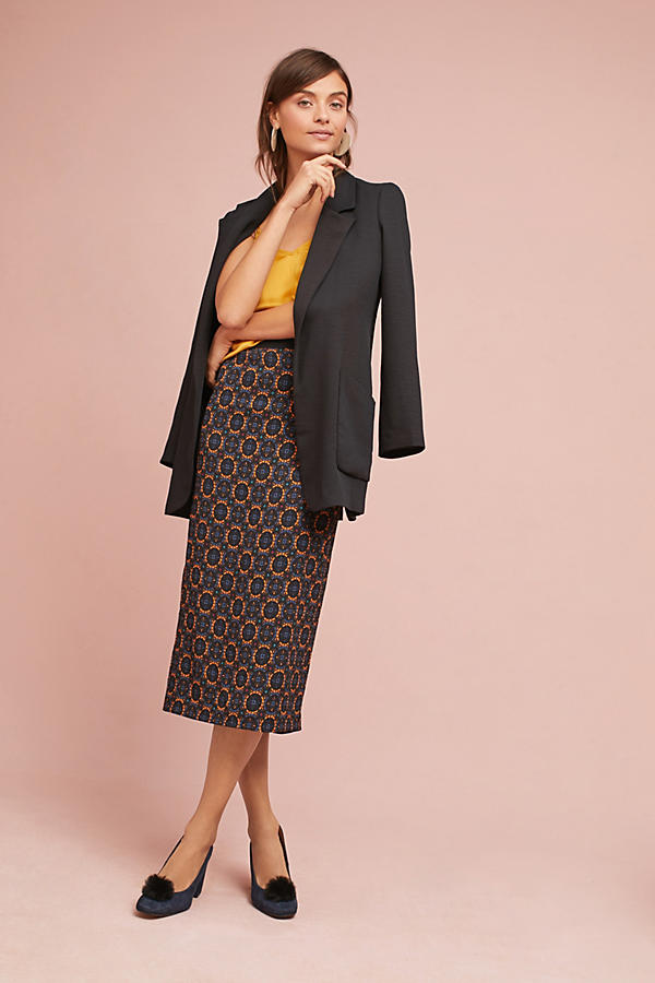 Tracy Reese Silk Slim Midi Skirt