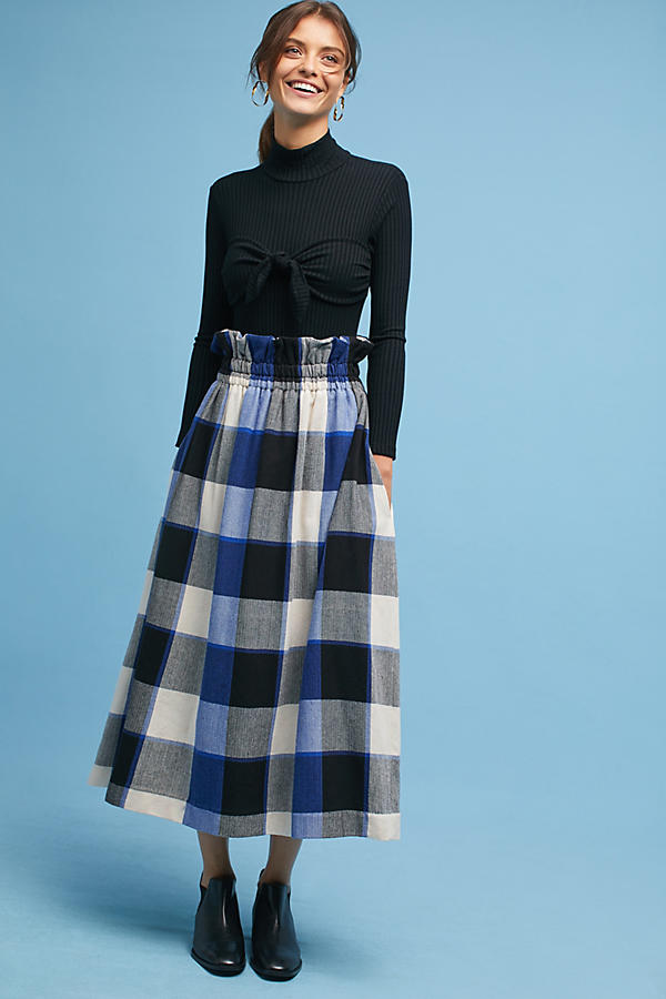 Mara Hoffman Checkered Midi Skirt