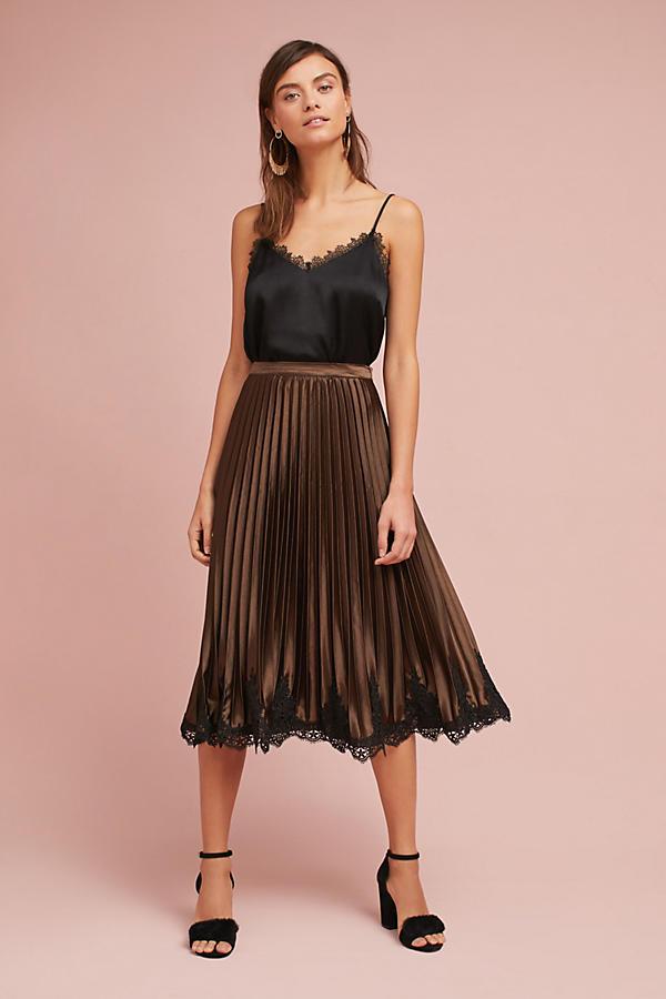 Pleated Laced-Hem Skirt