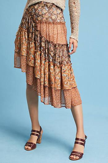 Patchwork Asymmetrical Skirt