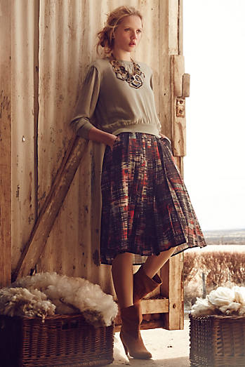 Abstracted Plaid Skirt