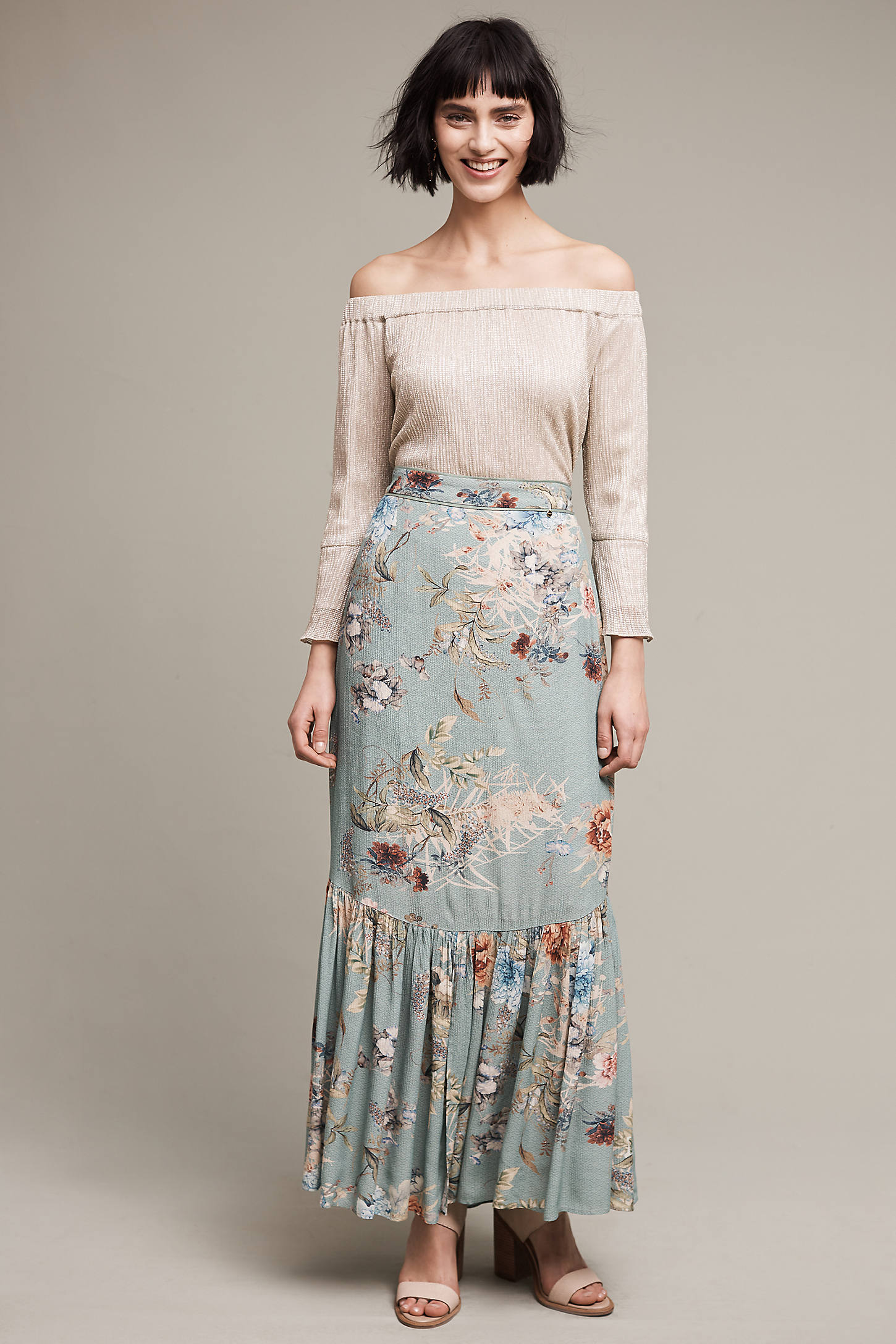 Primavera Floral Maxi Skirt, Green