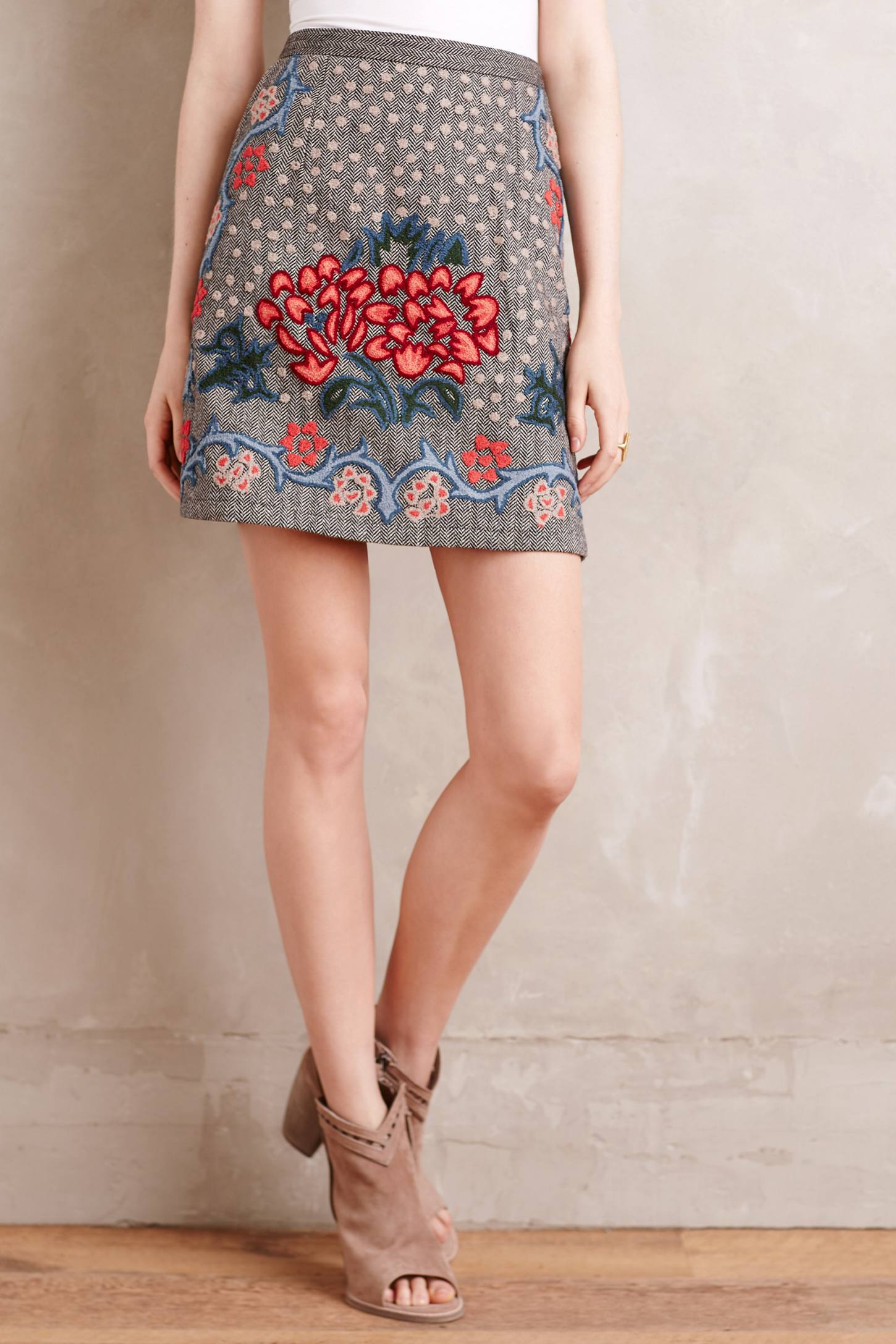 Embroidered Wool Mini Skirt