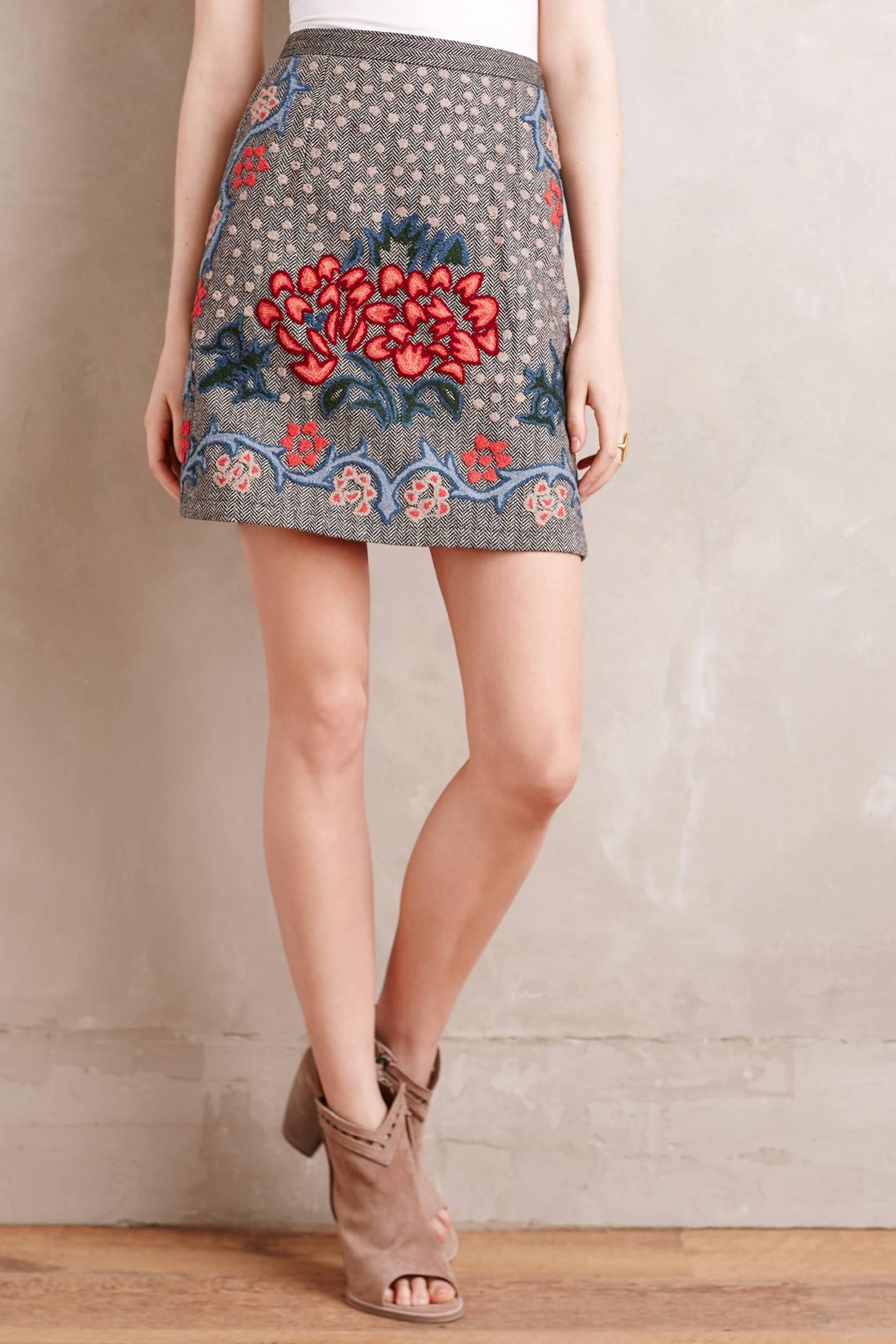Embroidered Wool Mini Skirt