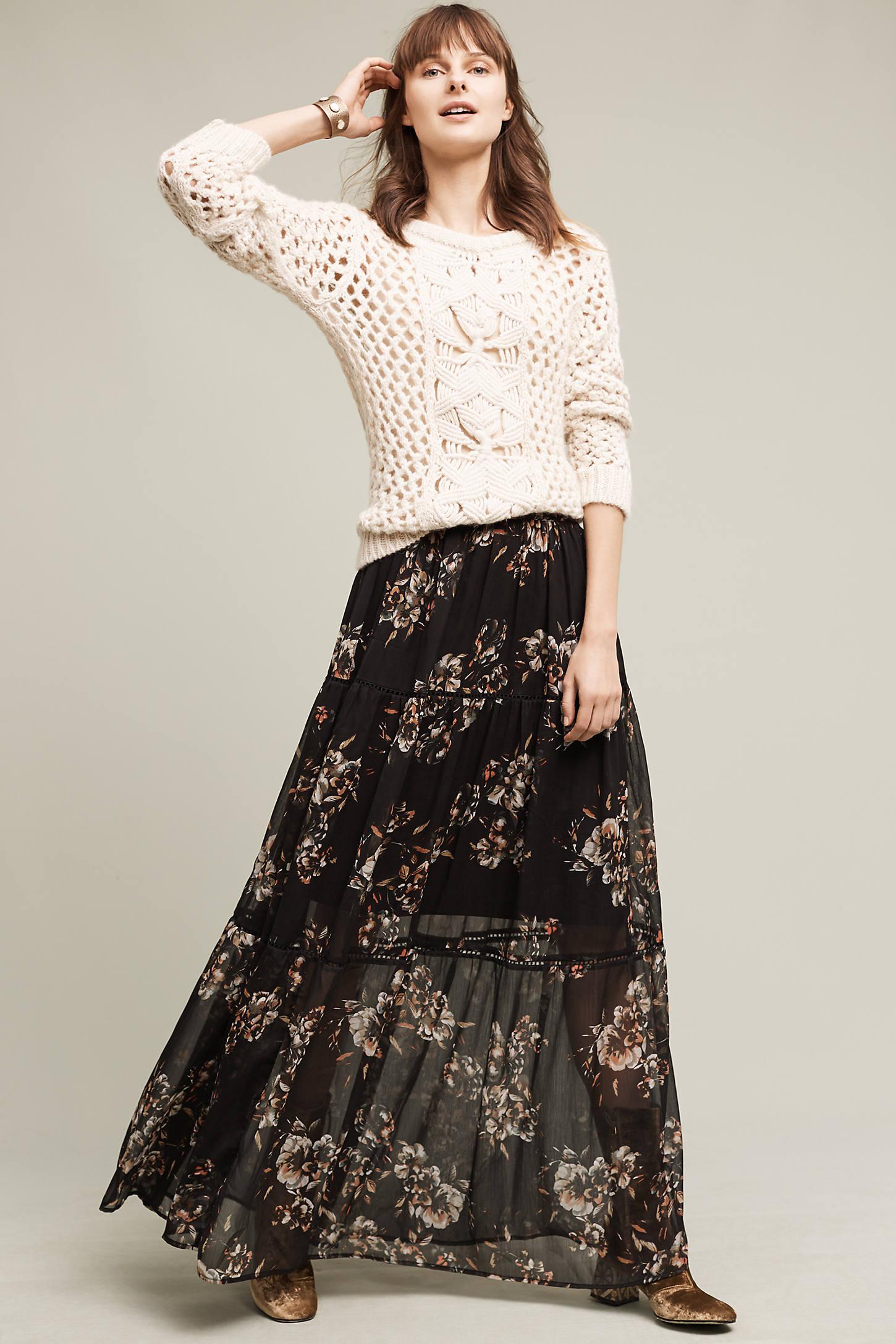 Izabelle Floral Maxi Skirt, Black