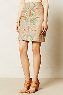 Embroidered Leather Pencil Skirt