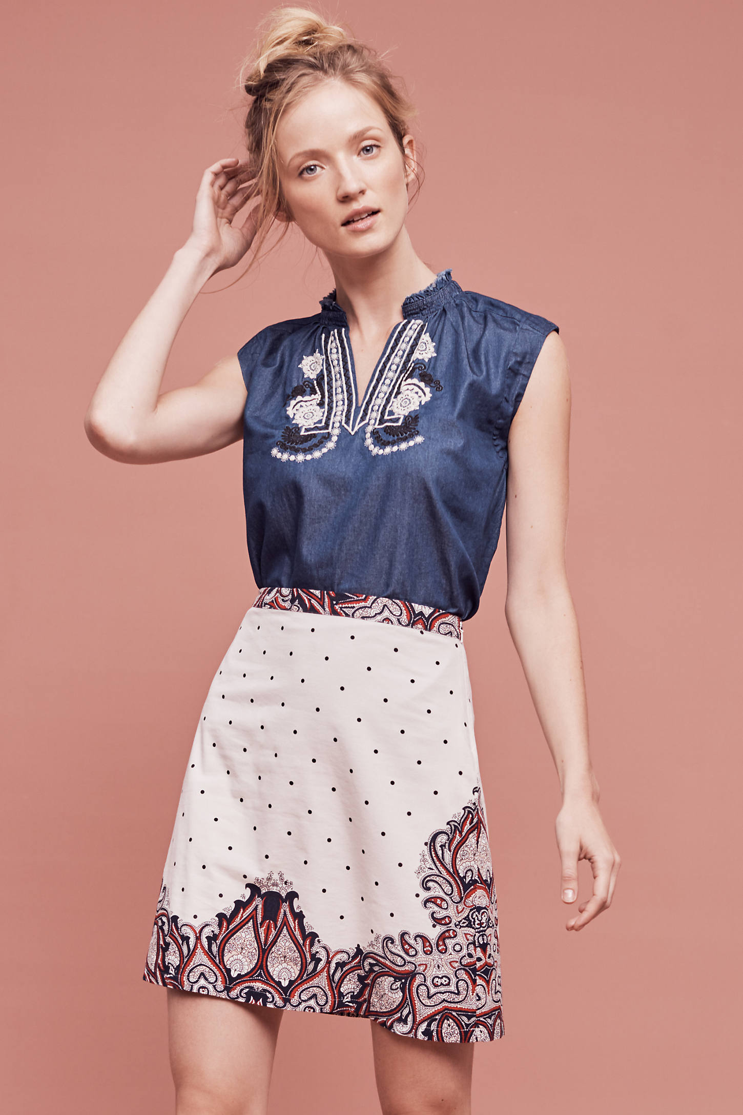 Adele Dot Skirt, Ivory