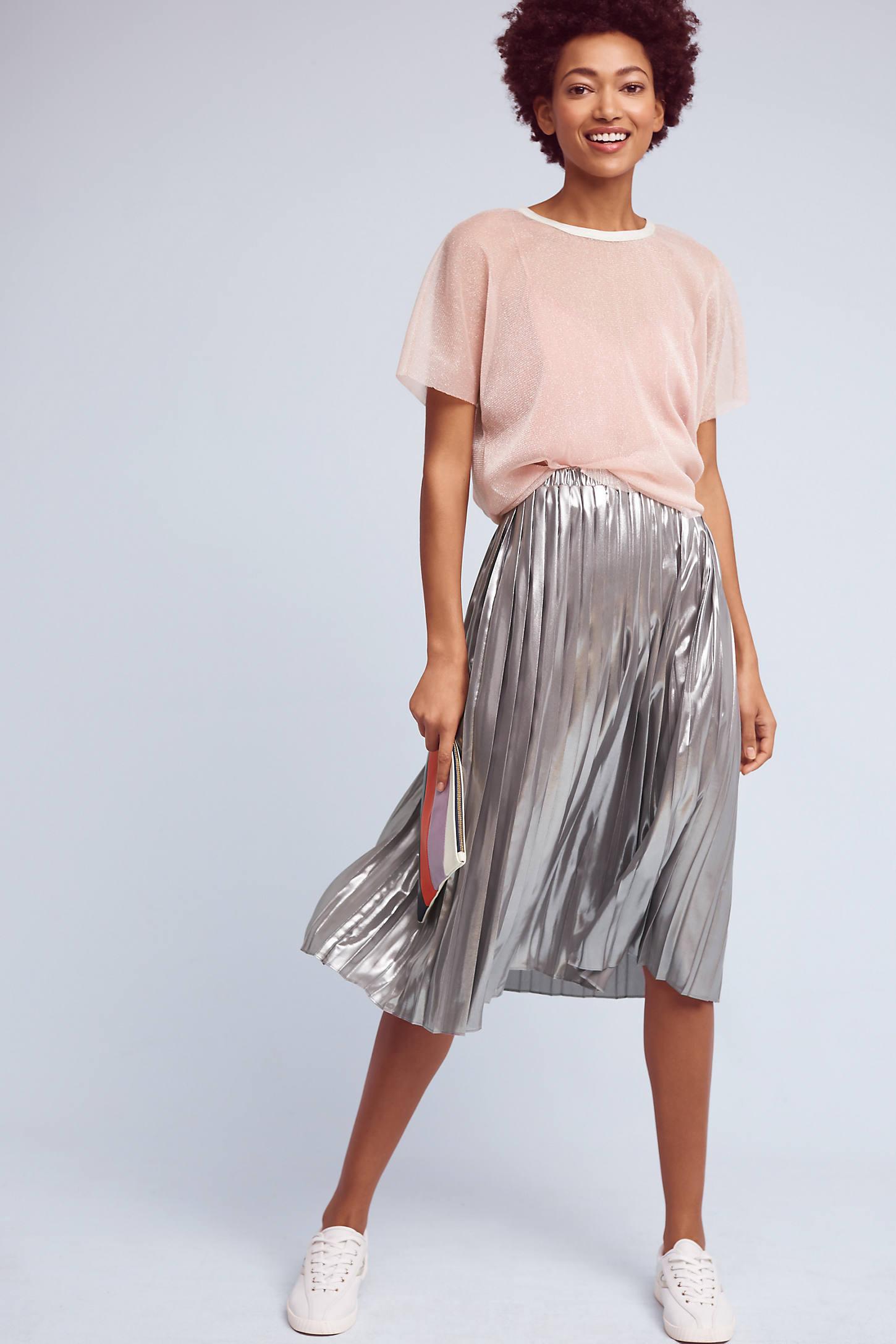 Levina Pleated Midi Skirt, Silver
