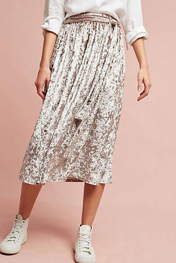 Velvet Tie-Waist Midi Skirt