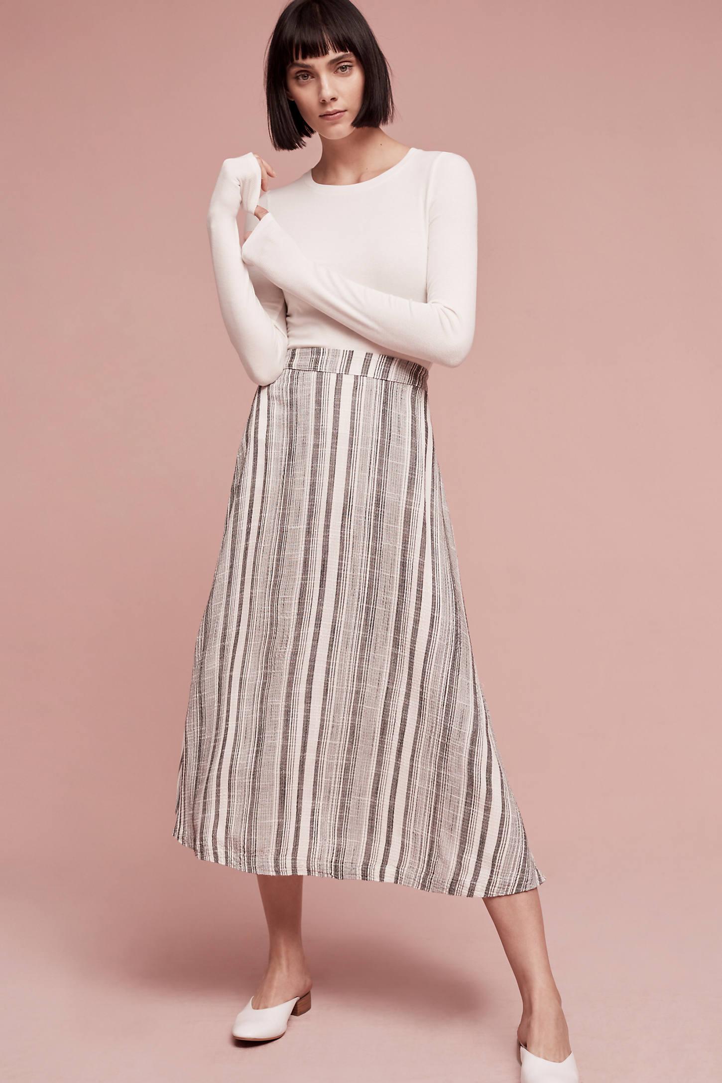 Clara Striped Midi Skirt, Grey