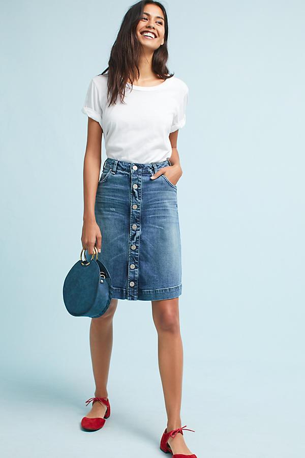 McGuire Button-Front Denim Skirt