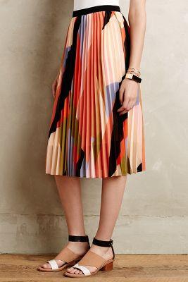 Pleated Colorblock Skirt