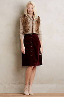Button-Front Cord Skirt