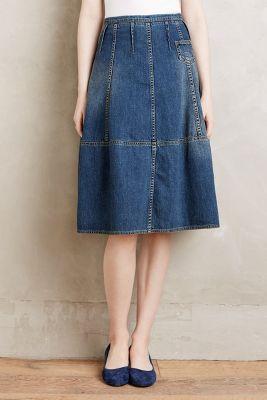 Pieced Denim Pocket Skirt
