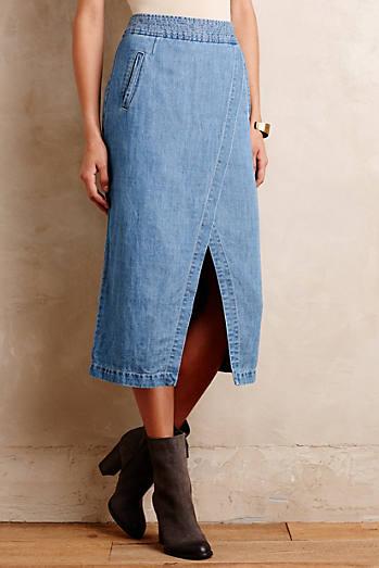 Denim Surplice Midi Skirt