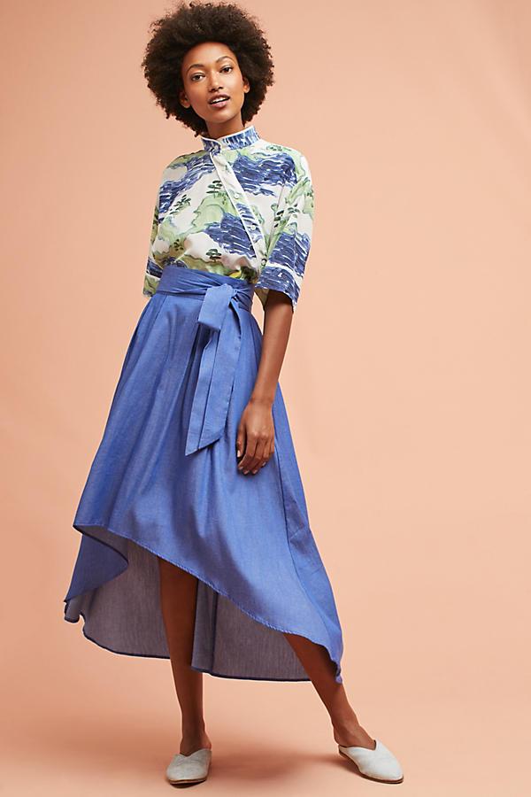 Chambray Tie-Waist Skirt