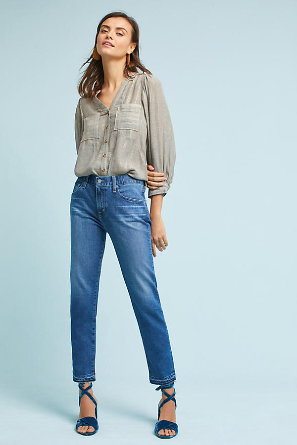AG Ex-Boyfriend Mid-Rise Straight Cropped Jeans