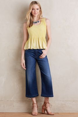 7 For All Mankind High-Rise Culottes Brilliant Blue Broken 26 Pants