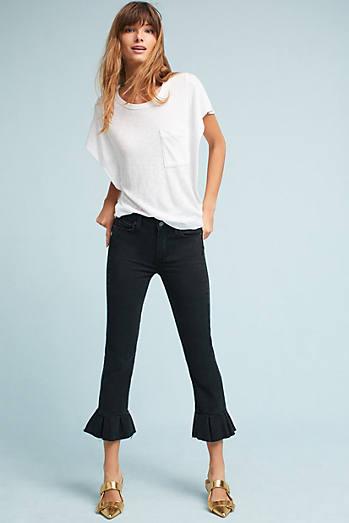 Paige Rafaela Mid-Rise Skinny Cropped Ruffle Petite Jeans