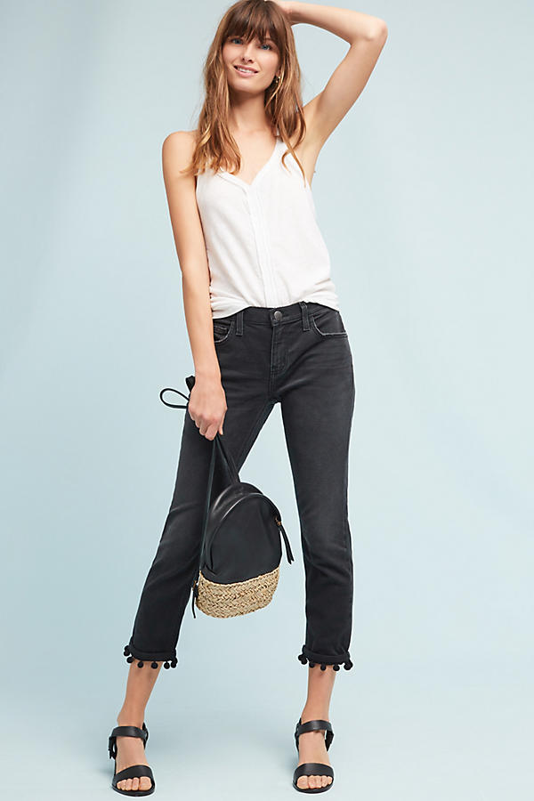 Current/Elliott The Cropped Straight Mid-Rise Pom Pom Jeans