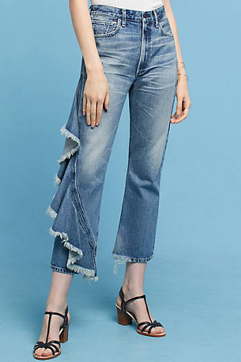 Citizens of Humanity Estella Ruffled Ultra High-Rise Relaxed Cropped Jeans