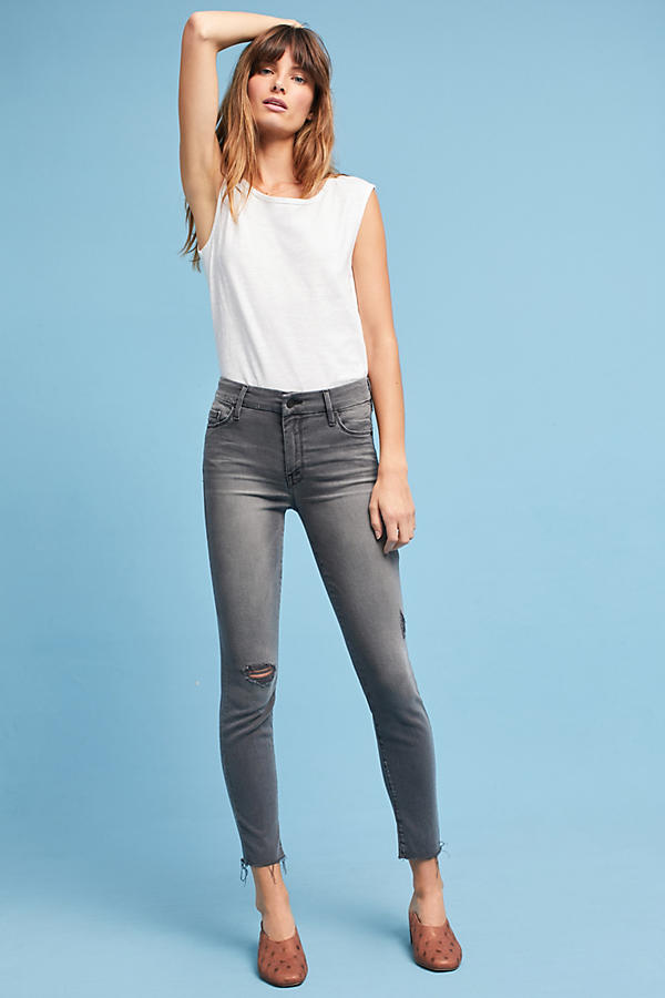 Mother The Looker Mid-Rise Frayed Ankle Jeans