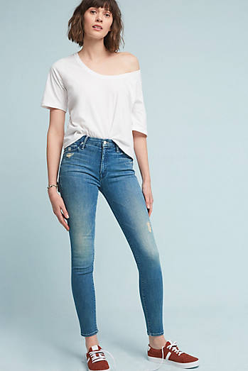Mother The High Waisted Looker High-Rise Skinny Ankle Jeans