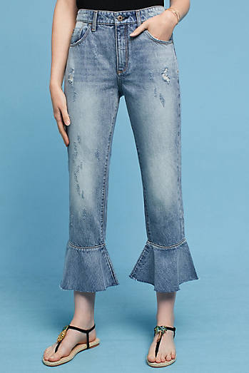 Pilcro High-Rise Relaxed Ruffled Jeans