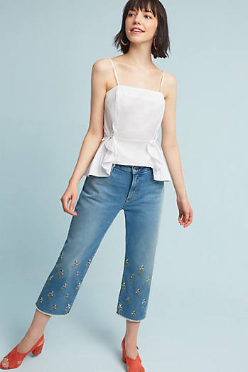 Pilcro Embroidered High-Rise Straight Jeans