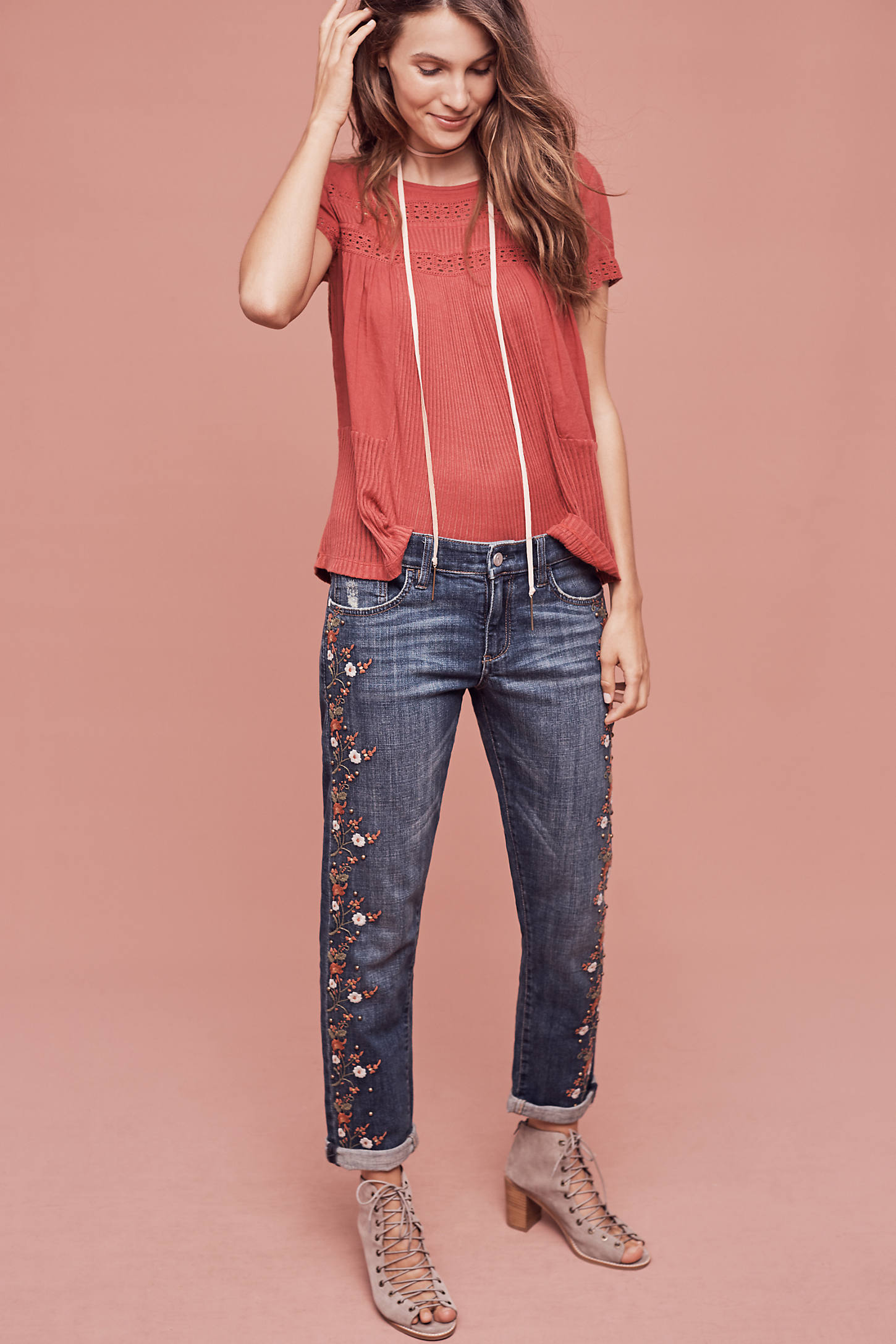 Pilcro Hyphen Mid-Rise Embroidered Jeans