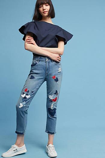 Pilcro Hyphen Mid-Rise Embroidered Boyfriend Jeans