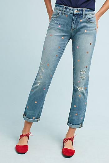 Pilcro Polka Dot Mid-Rise Boyfriend Cropped Jeans
